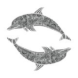 Bei scarabocchi di scarabocchio del delfino di zen di stile disegnato a mano di groviglio illustrazione degli animali di mare Immagini Stock Libere da Diritti