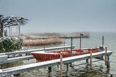 Bei scences di inverno sulle rive del lago superiore Obersee zurich vicino a Hurden Svitto e a Rapperswil-Jona Sankt Gallen fotografia stock libera da diritti