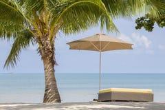 Bei spiaggia, palma, acqua di mare, ombrello e lettino tropicali un giorno soleggiato thailand immagine stock libera da diritti