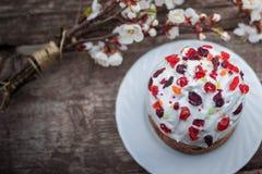 Bei supporti del dolce di Pasqua su una superficie di legno di struttura, vicino alle bugie che fioriscono albicocca posto nell'a fotografie stock libere da diritti