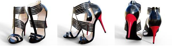 Bei tacchi alti femminili stabiliti dei sandali Immagini Stock