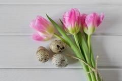 Bei tulipani con le uova di quaglia su fondo di legno leggero immagini stock