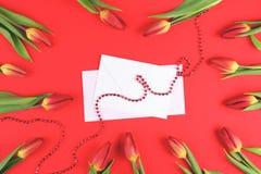 Bei tulipani intorno alla busta bianca ed alla carta in bianco su fondo rosso Fotografia Stock