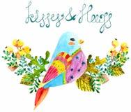 Bei uccello e fiori dell'acquerello Fotografie Stock Libere da Diritti