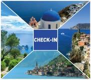 Bei vacanza, viaggio e turismo dal concetto dell'aria Immagini Stock