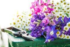 Bei vari tipi di fiori sulla tavola verde Fotografia Stock Libera da Diritti