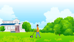 Beibehalten eines grünen Hauses Stockbilder