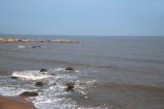 Beidaihe beach and coastal reef waves. Qinhuangdao Beidaihe beach and coastal reef waves stock image