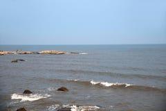 Beidaihe beach and coastal reef waves. Qinhuangdao Beidaihe beach and coastal reef waves royalty free stock photos