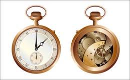 Beide Seiten der alten Uhr stock abbildung