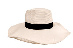 Beide woman's hat. Big beide woman's hat from the sun with black hat-band Stock Image