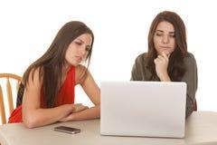 Beider Computer mit zwei Frauen ernster Blick am Schirm Lizenzfreie Stockfotos