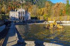 Beieren, Duitsland - Oktober 15, 2017: Linderhofpaleis 1863-188 Stock Afbeeldingen