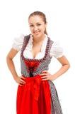 Beiers die meisje over witte achtergrond wordt geïsoleerd royalty-vrije stock foto's