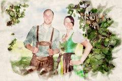 Beiers paar die zich onderaan een boom bevinden royalty-vrije stock foto's