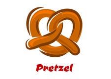 Beierse verdraaide pretzel in beeldverhaalstijl Stock Fotografie