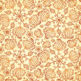 Beige abstract doodle flowers seamless pattern Royalty Free Stock Image