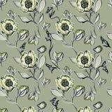 Beige abstracte bloemen op zwart-wit achtergrond Royalty-vrije Stock Foto's