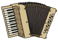 Beige accordion. Hand drawing of a classic cream accordion Stock Photo