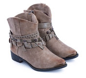 Beige ankle boots Royalty Free Stock Photos