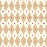 Beige argyle and hearts seamless pattern. Seamless vector argyle pattern with dashed line and hearts. Cute romantic background in beige and pink colors Stock Photography