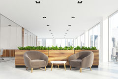 Beige armchairs waiting area, grass Stock Photography