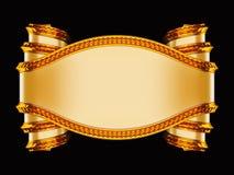 Beige Aufkleber mit goldenem Rand und curles Stockfotos
