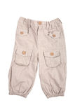 Beige baby trousers Royalty Free Stock Photos