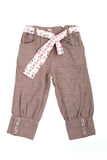 Beige baby trousers with belt Royalty Free Stock Image