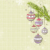 Beige background with christmas balls,  Stock Photos