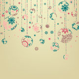 Beige background with christmas balls. EPS 8 Stock Images