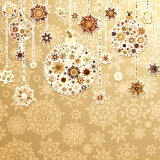 Beige background with christmas balls. EPS 8 Stock Image