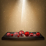 Beige background with Christmas balls. Beige background with Christmas balls on wooden shelf. Vector illustration Royalty Free Stock Photography