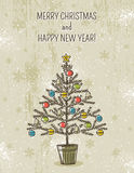 Beige background with christmas tree, vector. Illustration stock illustration