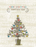 Beige background with christmas tree, vector. Illustration Stock Images