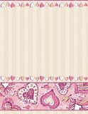 Beige background with hand draw  hearts.  Royalty Free Stock Photos