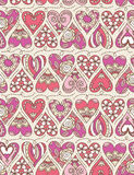 Beige  background with  pink decorative valentine hearts Stock Images
