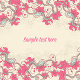 Beige background with pink flowers Stock Image