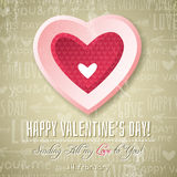 Beige background with  pink valentine heart and wi Stock Photography