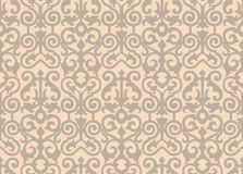 Beige background.Vintage card  on seamless wallpaper. Seamless background with retro pattern. Vector illustration Stock Photo