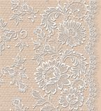 Beige background with white lace. Stock Photos