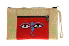 Beige bag with symbol Nepali Buddha Eyes Stock Photography
