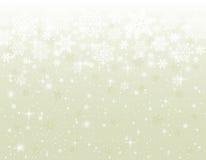 Beige bakgrund med snöflingor Fotografering för Bildbyråer