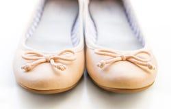Beige ballet flats Stock Photo