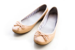 Beige ballet flats Royalty Free Stock Photo
