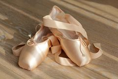 Beige ballet shoe Stock Photo