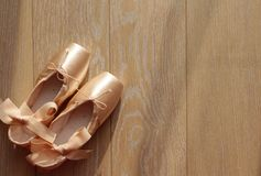 Beige ballet shoe Royalty Free Stock Photo