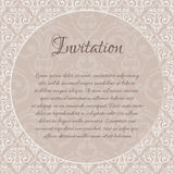 Beige baroque damask invitation blank Royalty Free Stock Photos