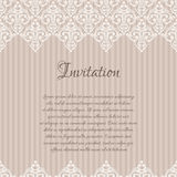 Beige baroque damask invitation blank Royalty Free Stock Photography