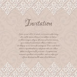 Beige baroque damask invitation blank Stock Photography